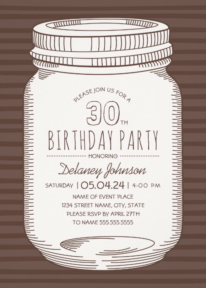 Rustic Mason Jar 30th Birthday Party Invitations – Vintage Country Cards