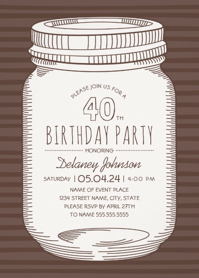 Rustic Mason Jar 40th Birthday Party Invitations – Vintage Country Cards