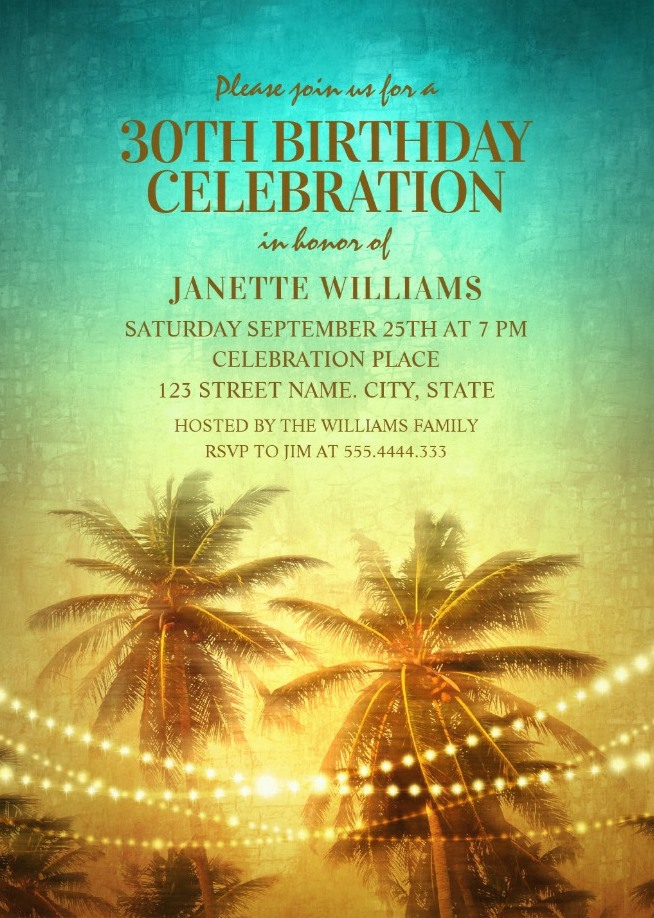 Tropical Palm Tree Hawaiian Themed 30th Birthday Invitations - Beach Party Invite