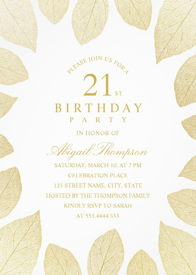 Unique Gold Leaves 21st Birthday Invitations - Elegant Frame Templates