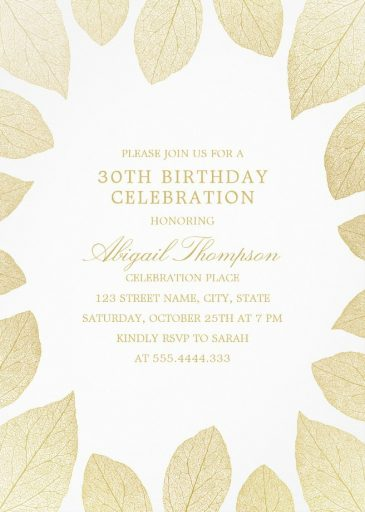 Unique Gold Leaves 30th Birthday Invitations - Elegant Frame Templates