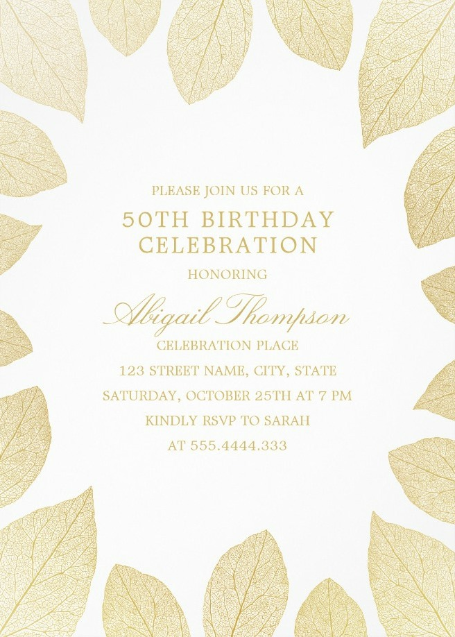 Unique Gold Leaves 50th Birthday Invitations - Elegant Frame Templates