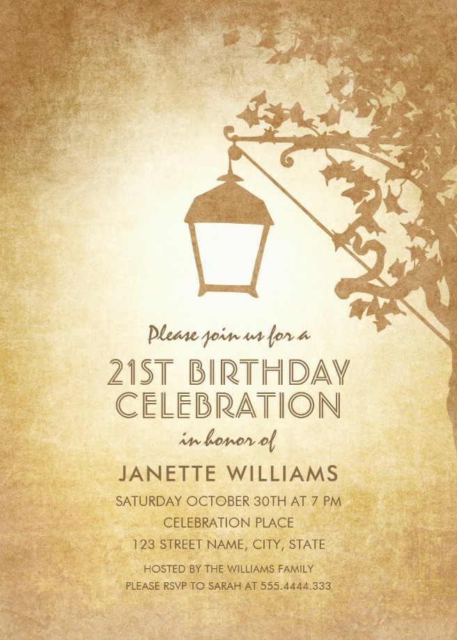 Vintage Garden 21st Birthday Invitations - Rustic Country Lamp Invites