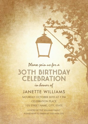 Vintage Garden 30th Birthday Invitations - Rustic Country Lamp Invites