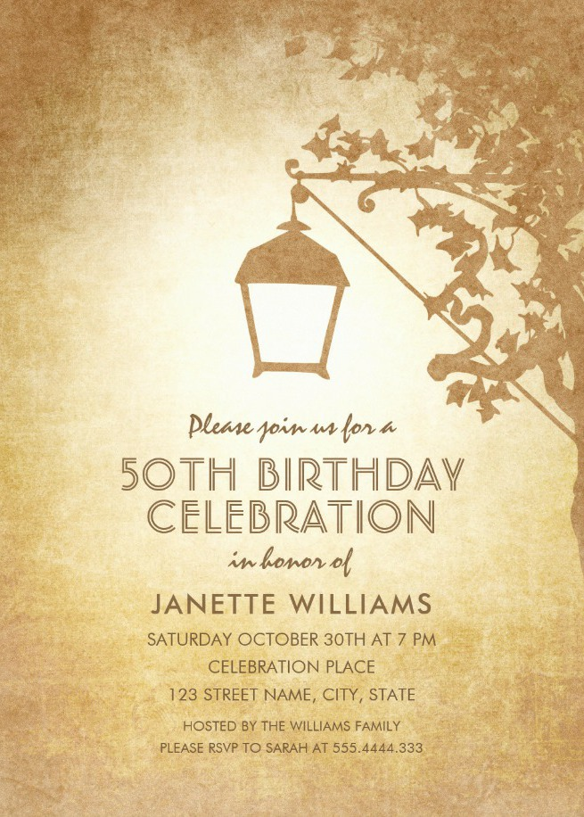 Vintage Garden 50th Birthday Invitations - Rustic Country Lamp Invites