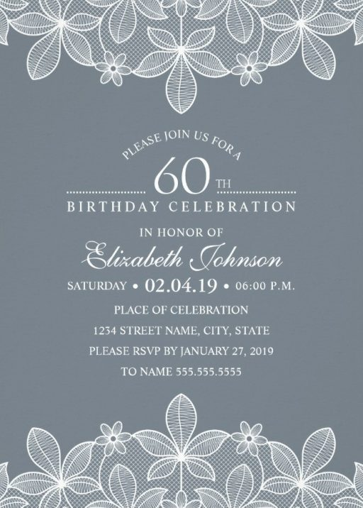 Bluish Grey Lace 60th Birthday Invitations - Elegant Luxury Cards