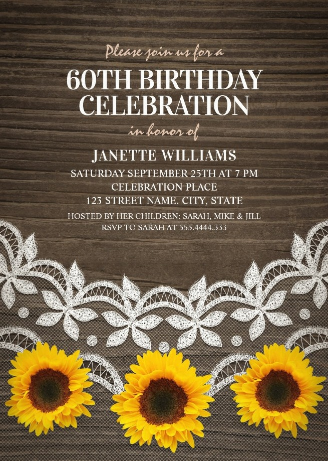 Country Lace Sunflower 60th Birthday Invitations - Rustic Wood Invites