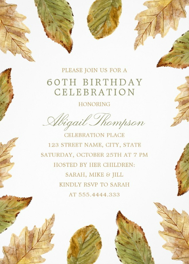 Fall Leaves 60th Birthday Invitations - Watercolor Frame Templates