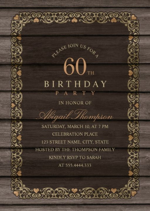 Fancy Wood 60th Birthday Invitations - Rustic Country Invitation Templates