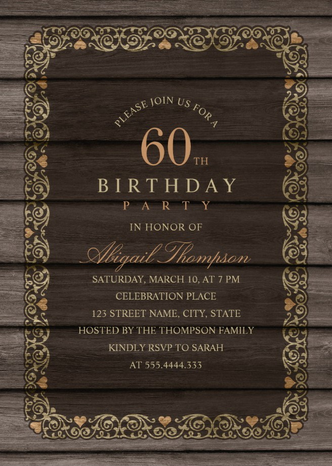 Fancy Wood 60th Birthday Invitations