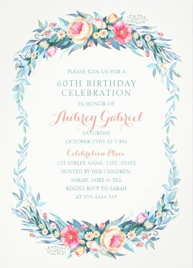 Floral Adult 60th Birthday Invitations - Elegant Spring Flowers