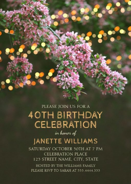 Garden Lights 40th Birthday Invitations