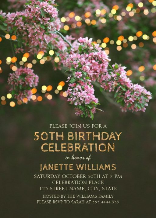 Garden Lights 50th Birthday Invitations - Tree Blossom Outdoor Party Invites