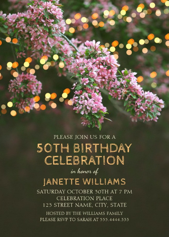 Garden Lights 50th Birthday Invitations Tree Blossom Outdoor Party