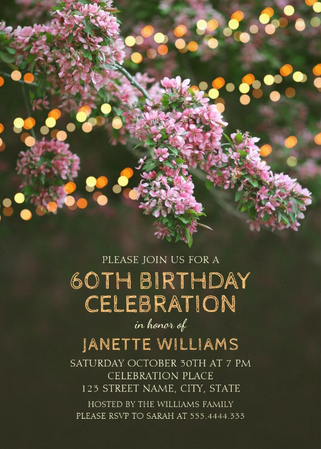 Garden Lights 60th Birthday Invitations - Tree Blossom Outdoor Party Invites