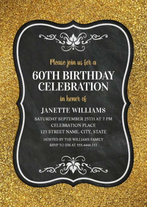 Glitter Adult 60th Birthday Party Invitations - Chalkboard Gold Invitation Templates