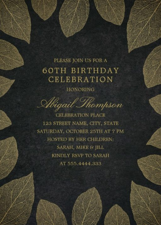 Gold Leaves 60th Birthday Invitations - Elegant Frame Templates