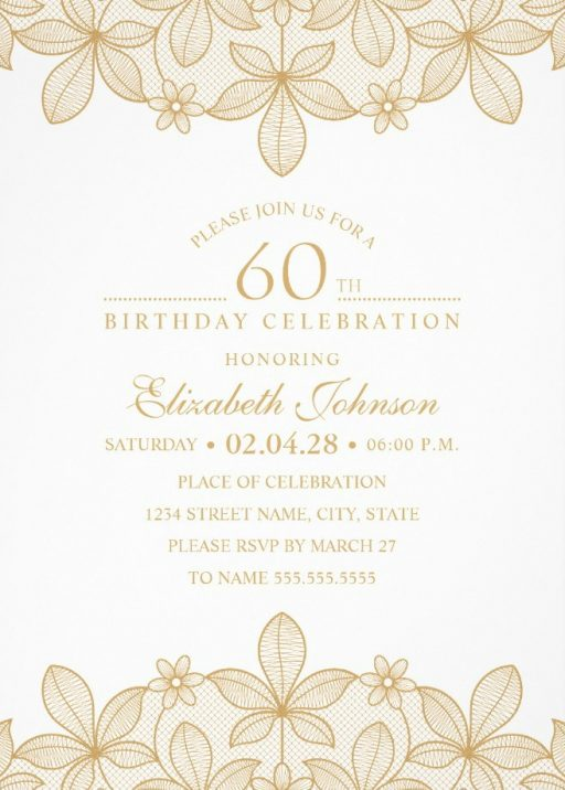Golden Lace 60th Birthday Invitations - Elegant Luxury Invitation Templates