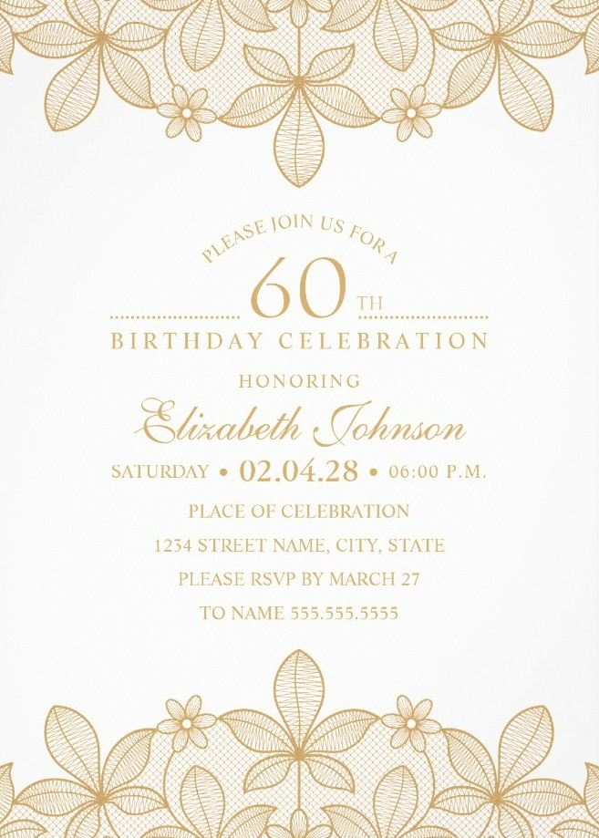 Golden Lace 60th Birthday Invitations