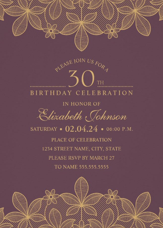 Golden Lace Wine Red 30th Birthday Invitations - Elegant Luxury Cards