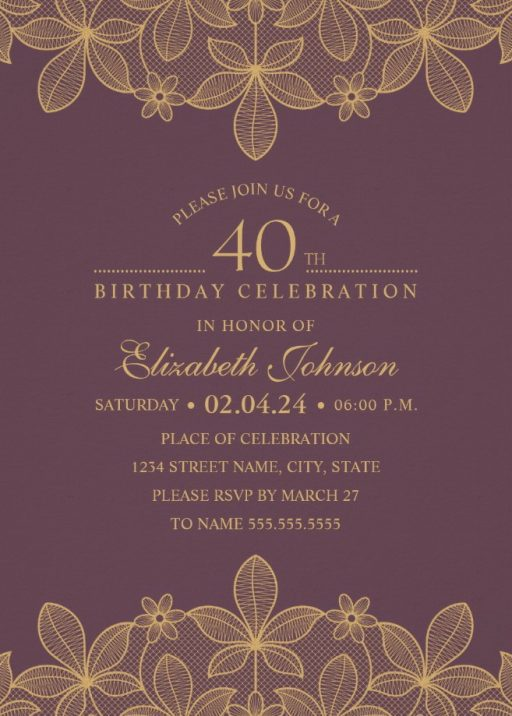 40th Birthday Invitations Birthday Invitation Templates