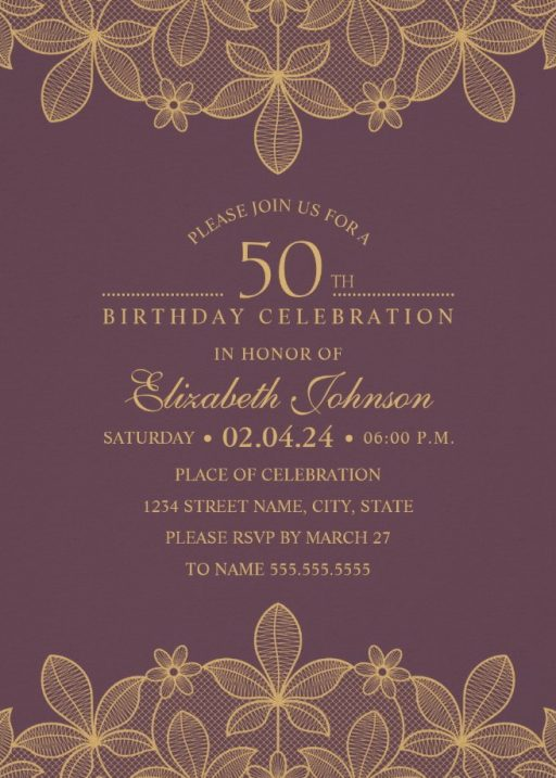 50th birthday invitations birthday invitation templates golden lace wine red 50th birthday invitations elegant luxury cards filmwisefo