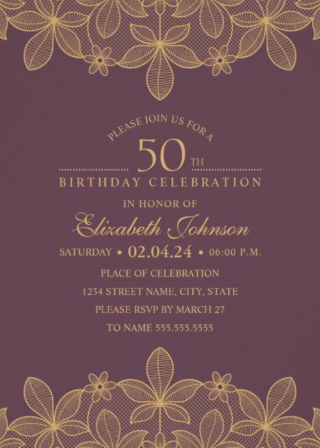 Golden Lace Wine Red 50th Birthday Invitations - Elegant Luxury Cards