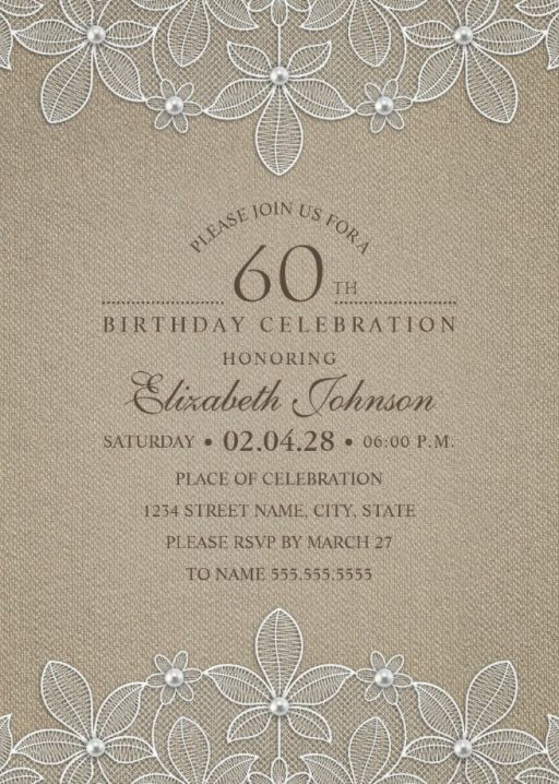 Lace and Pearls Country Burlap 60th Birthday Invitations