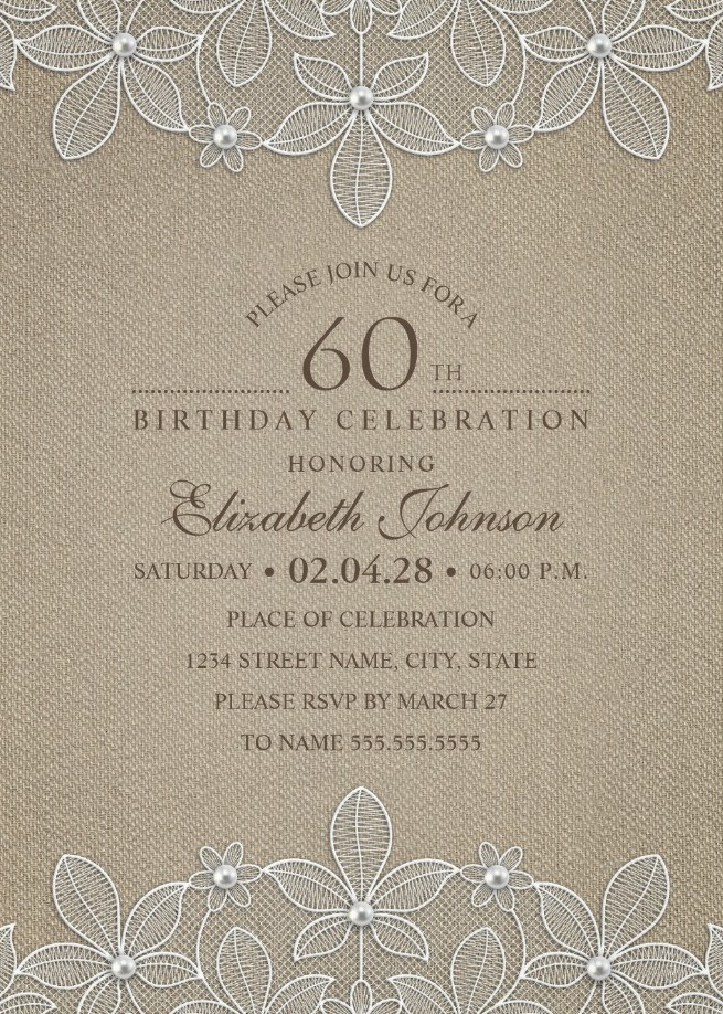 Lace and Pearls Country Burlap 60th Birthday Invitations | Custom ...