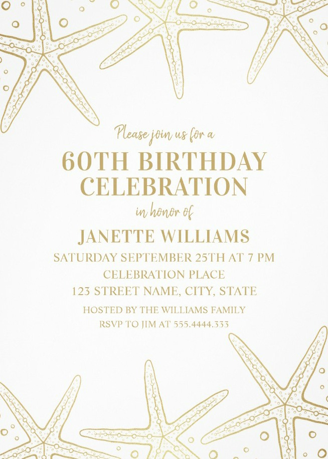 Nautical Adult 60th Birthday Invitations - Golden Starfish Invite Templates