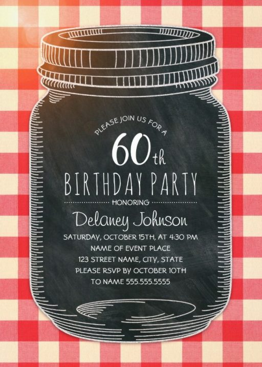 Picnic 60th Birthday Invitations - Mason Jar Chalkboard Outdoor BBQ Invites