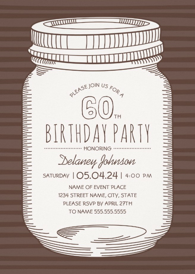 Rustic Mason Jar 60th Birthday Party Invitations – Vintage Country Cards