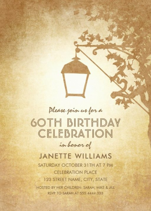 Vintage Garden 60th Birthday Invitations - Rustic Country Lamp Invites