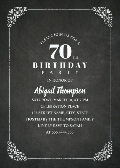 Chalkboard Adult 70th Birthday Party Invitations - Vintage Classic Templates