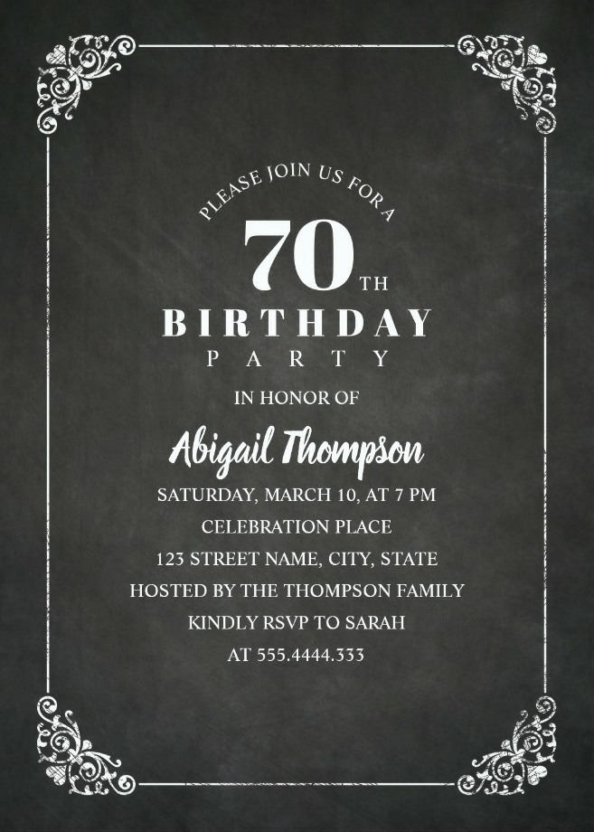 Chalkboard Adult 70th Birthday Party Invitations