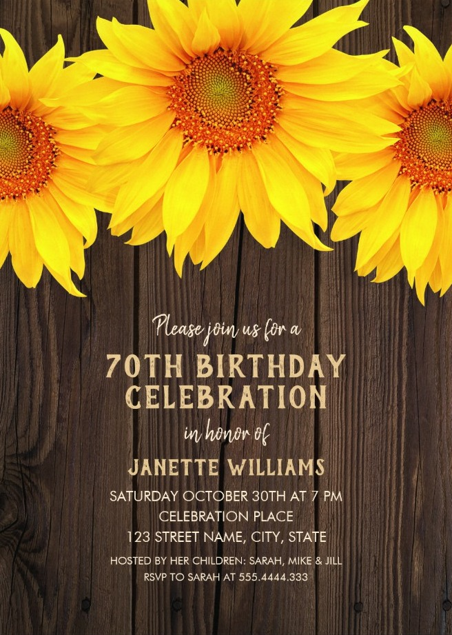 Country Sunflower 70th Birthday Invitations - Rustic Wood Templates