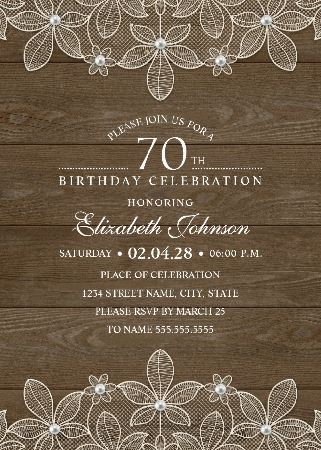 Country Wood 70th Birthday Invitations - Lace and Pearls Party Cards