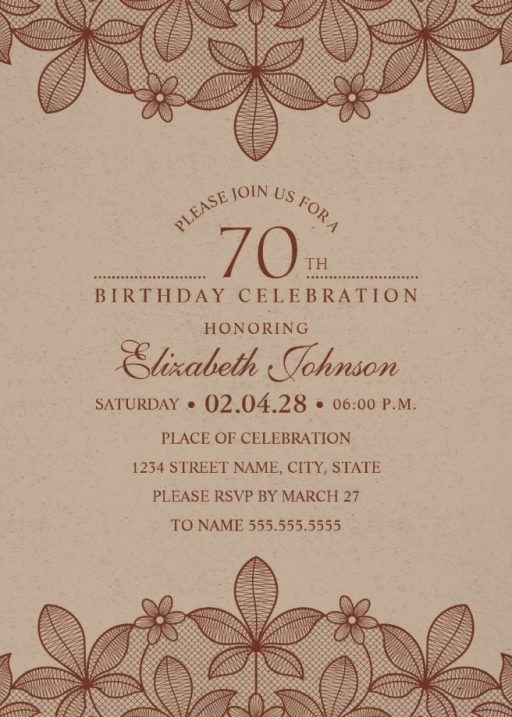 Elegant Lace 70th Birthday Invitations - Creative Luxury Cards