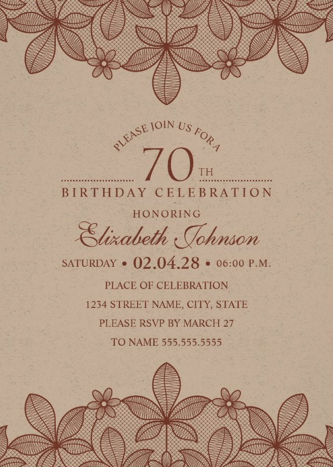 Elegant Lace 70th Birthday Invitations