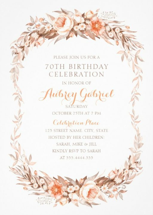 Floral Adult 70th Birthday Invitations - Elegant Fall Flowers Invitation Templates