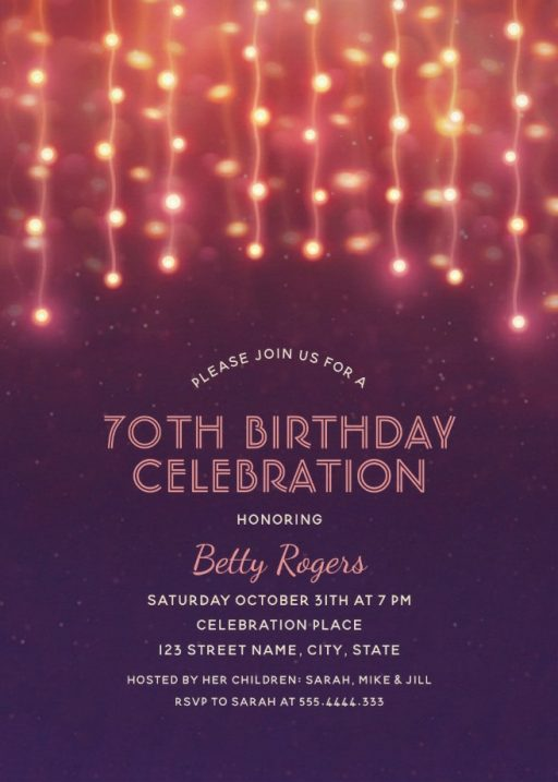 Glitter Lights 70th Birthday Party Invitations - Modern Fun Templates