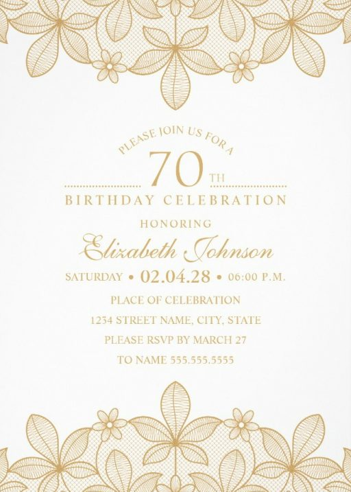 Golden Lace 70th Birthday Invitations - Elegant Luxury Invitation Templates