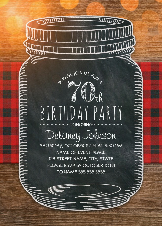 Outdoor 70th Birthday Invitations - Mason Jar Chalkboard Picnic Cloth BBQ