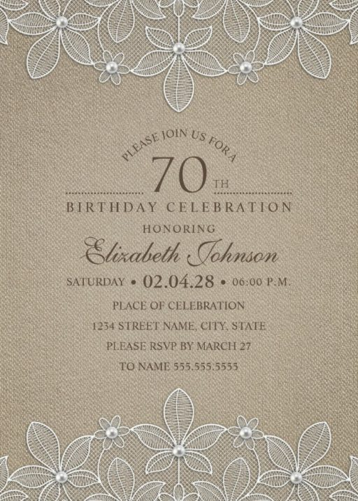 Rustic Burlap 70th Birthday Invitations - Lace and Pearls Party Cards