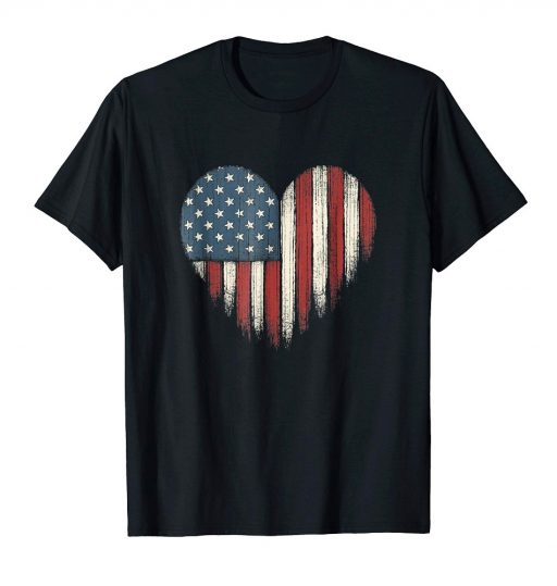 American Flag Heart Shirt Distressed USA Patriotic 4th of July Tee