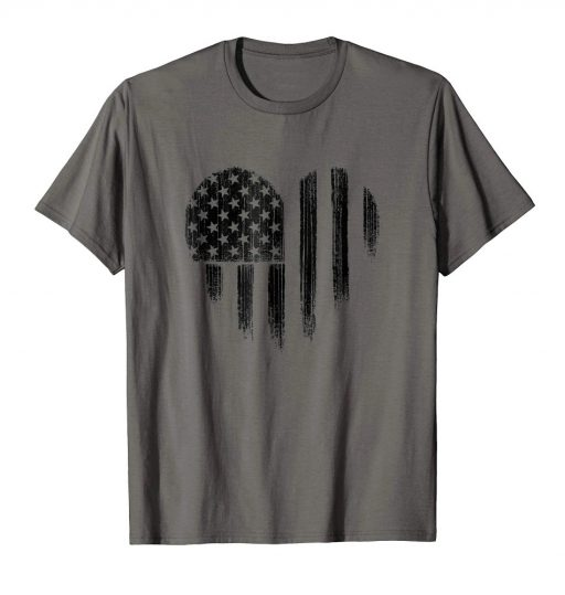 Black American Flag Heart Shirt Distressed USA Patriotic 4th of July Tee