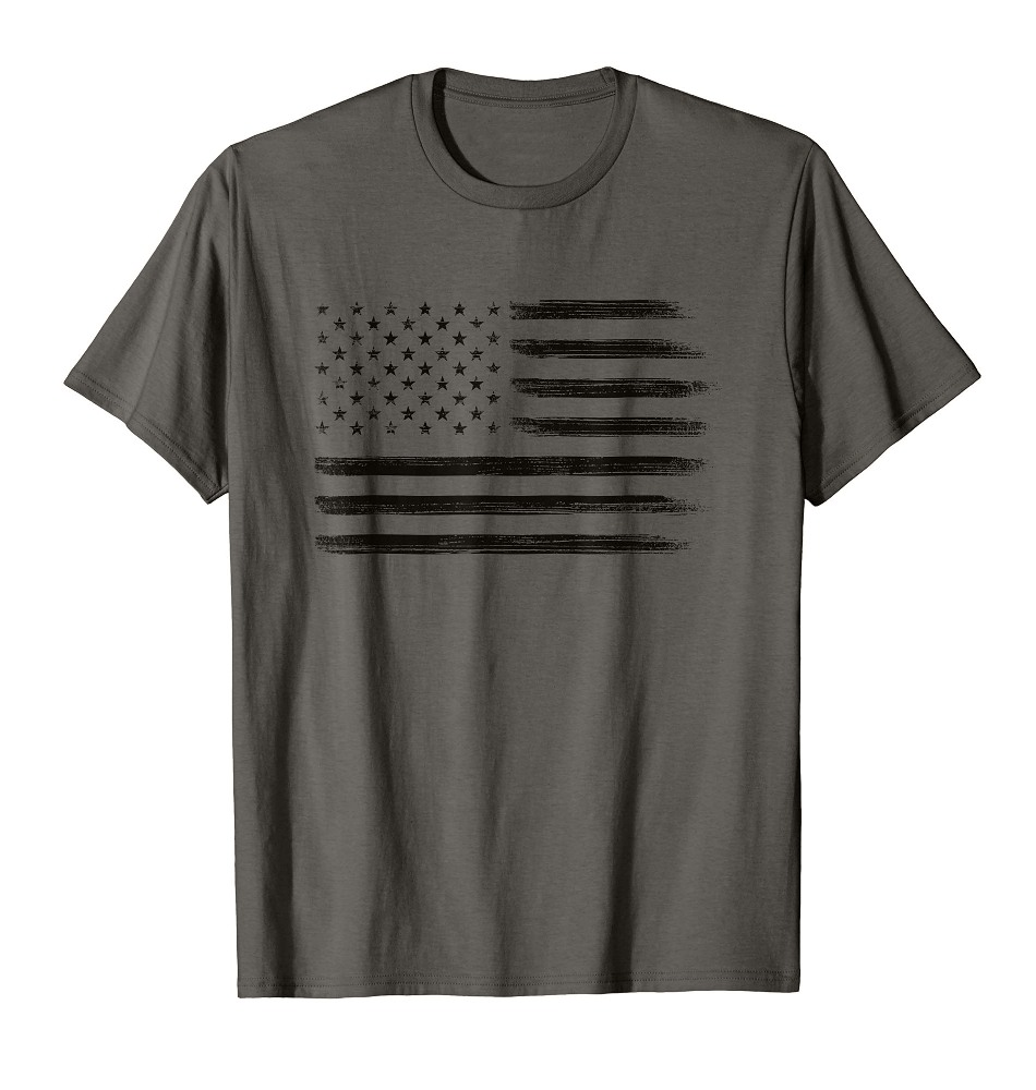 Black Grunge American Flag Shirt Cool USA Patriotic 4th of July Tee