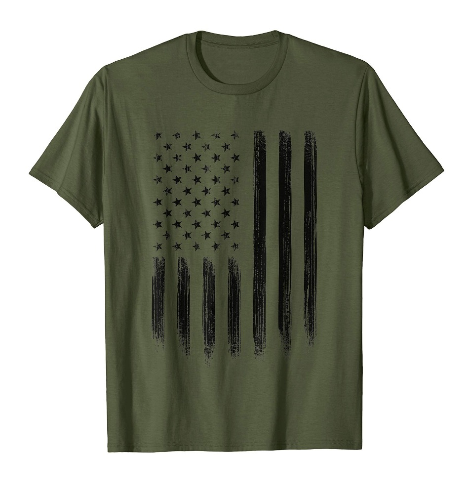 Black Vertical Grunge American Flag Shirt Cool USA Patriotic 4th of July Tee