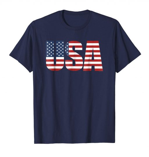 USA Letters Patriotic American Flag Shirt 4th of July Tee