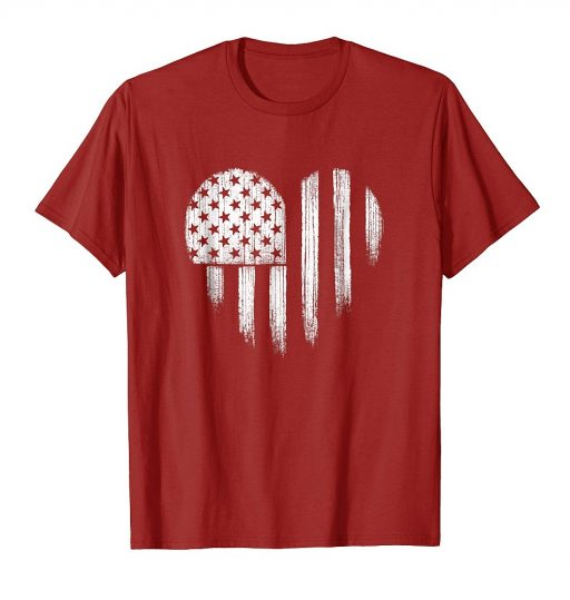 White American Flag Heart Shirt Distressed USA Patriotic 4th of July Tee